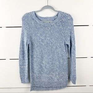 LOU & GREY Basketweave Cotton Sweater Blue Medium